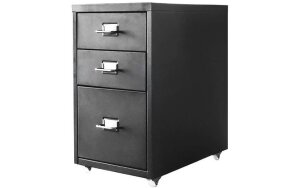 METAL DRAWER WITH 3 DRAWERS AND WHEELS BLACK